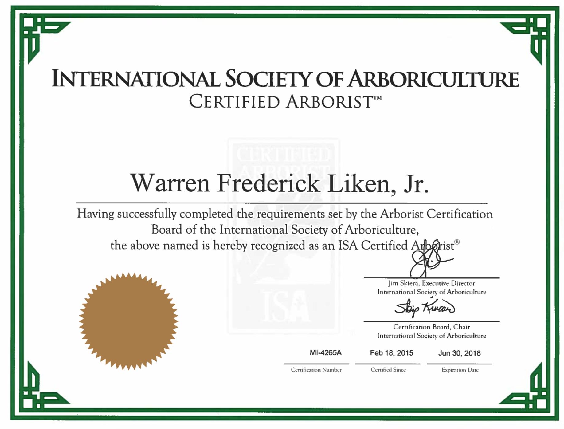 Employee Spotlight: Warren Liken, ISA Certified Arborist - Reder ...