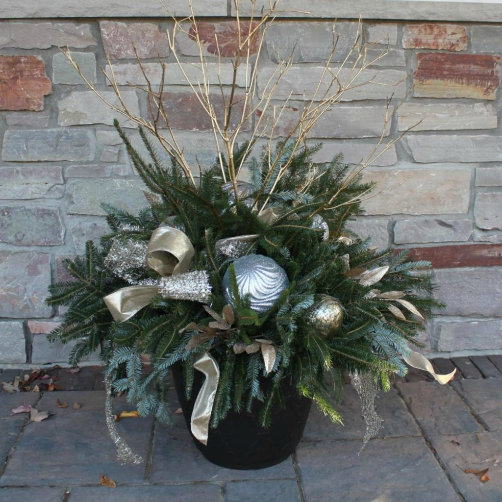 Silver and Gold Holiday-Winter Container Gardens